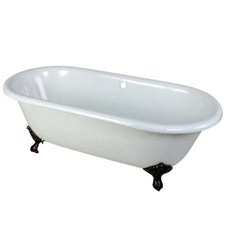 Aqua Eden VCTND663013NB5 66-Inch Cast Iron Double Ended Clawfoot Tub (No Faucet Drillings), White/Oil Rubbed Bronze