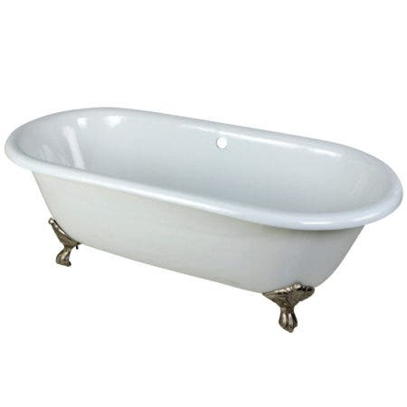 Aqua Eden VCTND663013NB8 66-Inch Cast Iron Double Ended Clawfoot Tub (No Faucet Drillings), White/Brushed Nickel