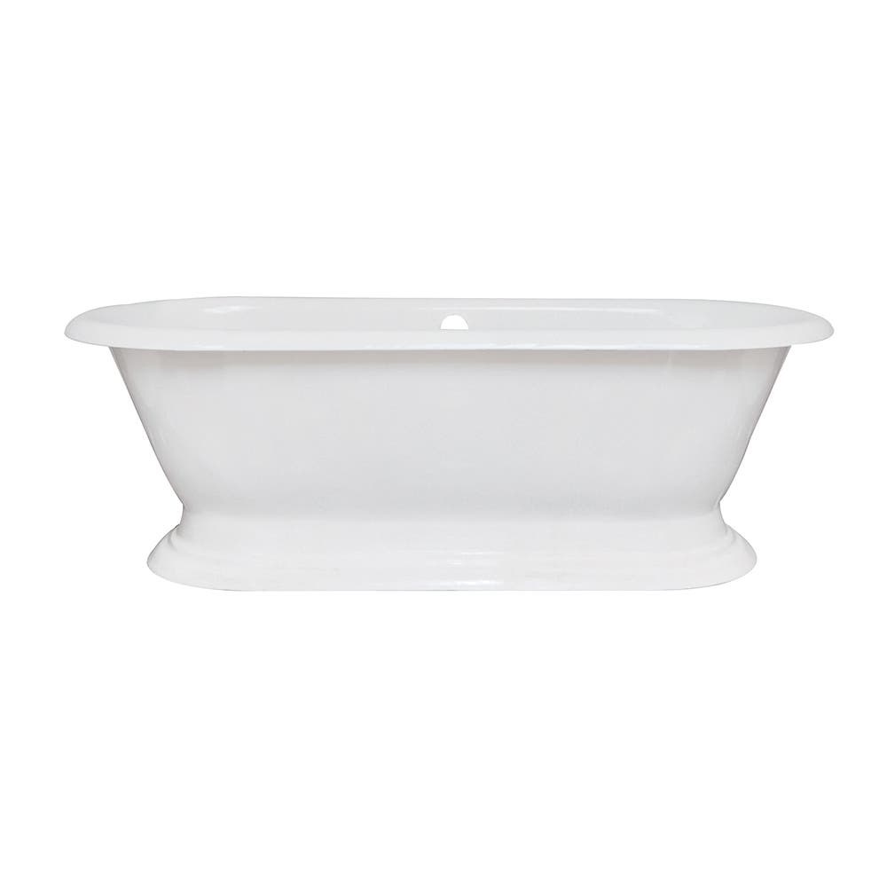 Aqua Eden VCTND723224 72-Inch Cast Iron Double Ended Pedestal Tub (No Faucet Drillings), White