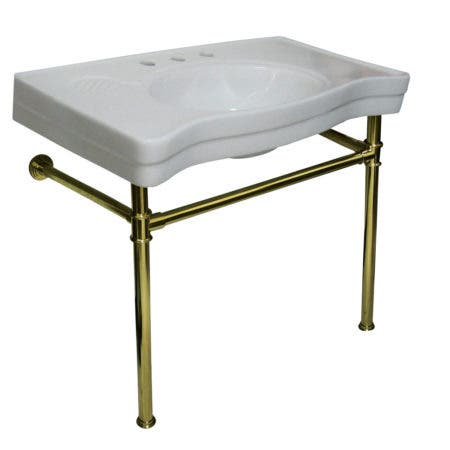 Kingston Brass VPB1362ST Imperial Ceramic Console Sink with Stainless Steel Legs, White/Polished Brass