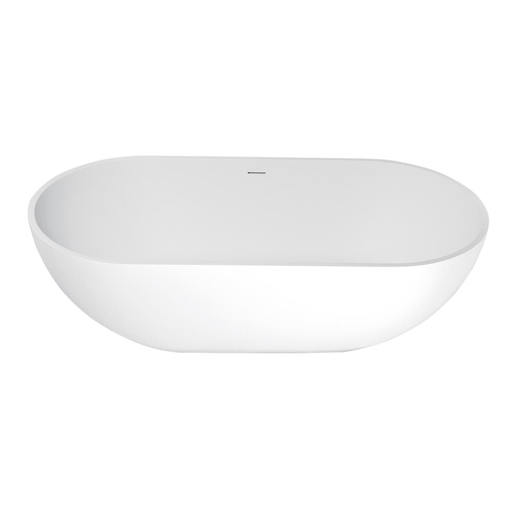 Aqua Eden VRTRS703520 Arcticstone 70-Inch Solid Surface White Stone Freestanding Tub with Drain, Matte White