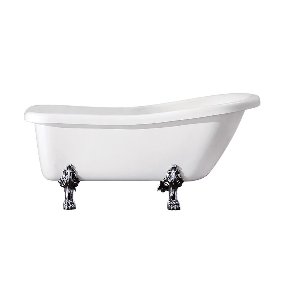 Aqua Eden VT7DE672826C1 67-Inch Acrylic Single Slipper Clawfoot Tub with 7-Inch Faucet Drillings, White/Polished Chrome