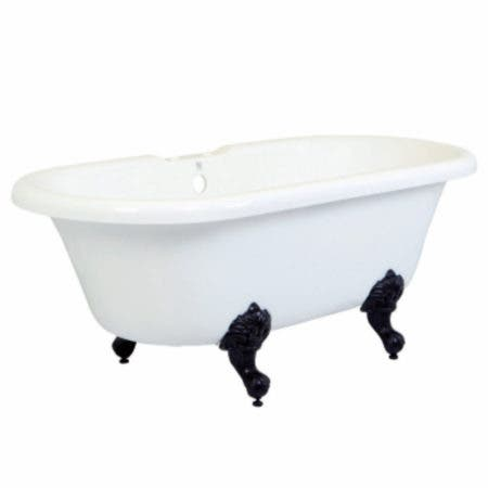 Aqua Eden VT7DS672924H5 67-Inch Acrylic Double Ended Clawfoot Tub with 7-Inch Faucet Drillings, White/Oil Rubbed Bronze