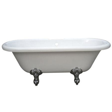 Aqua Eden VT7DS673023H1 67-Inch Acrylic Double Ended Clawfoot Tub with 7-Inch Faucet Drillings, White/Polished Chrome