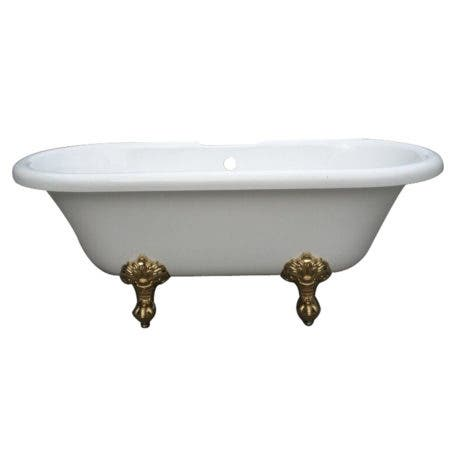 Aqua Eden VT7DS673023H2 67-Inch Acrylic Double Ended Clawfoot Tub with 7-Inch Faucet Drillings, White/Polished Brass
