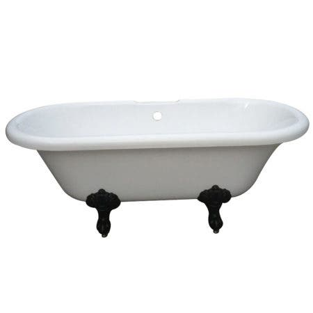 Aqua Eden VT7DS673023H5 67-Inch Acrylic Double Ended Clawfoot Tub with 7-Inch Faucet Drillings, White/Oil Rubbed Bronze
