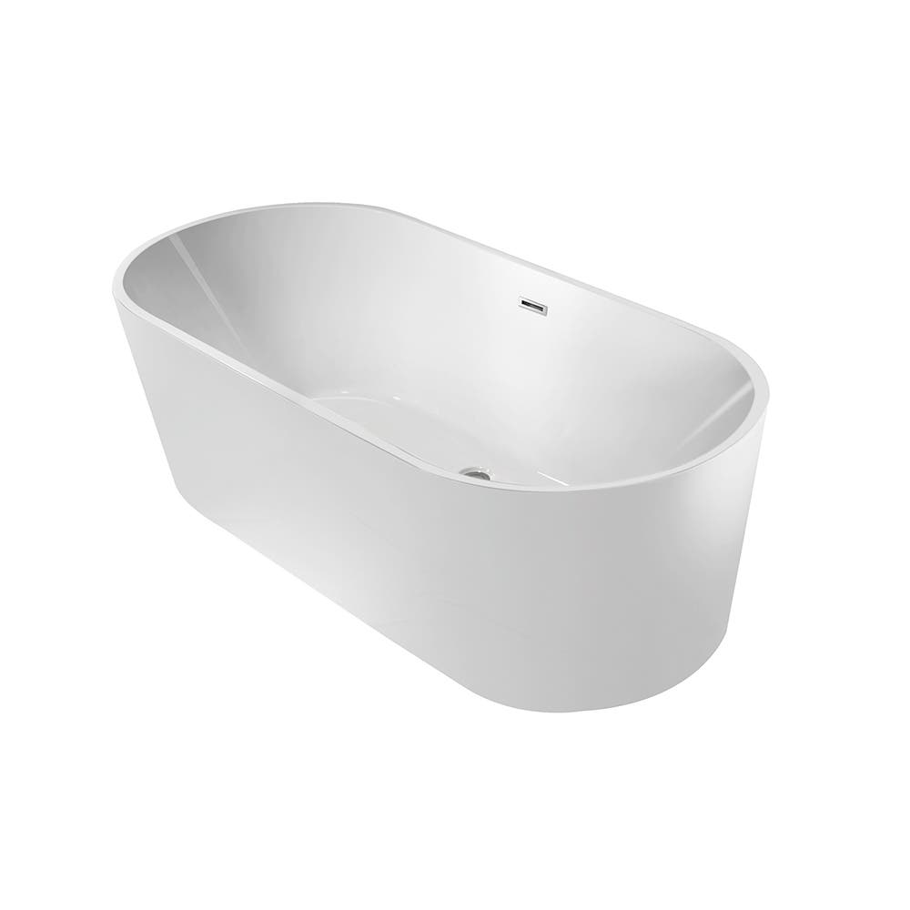 Aqua Eden VTDE603023 60-Inch Acrylic Double Ended Freestanding Tub with Drain, White