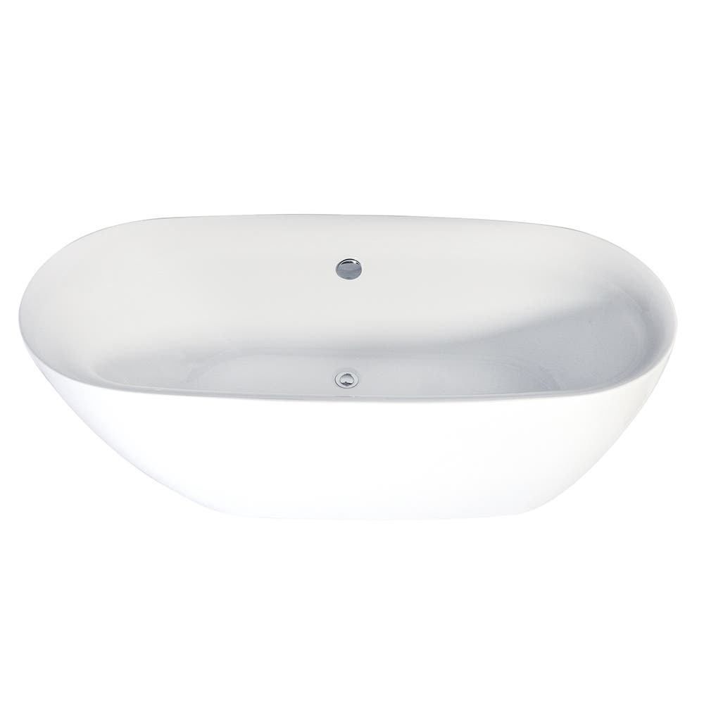 Aqua Eden VTDE673023 67-Inch Acrylic Double Ended Freestanding Tub with Drain, White