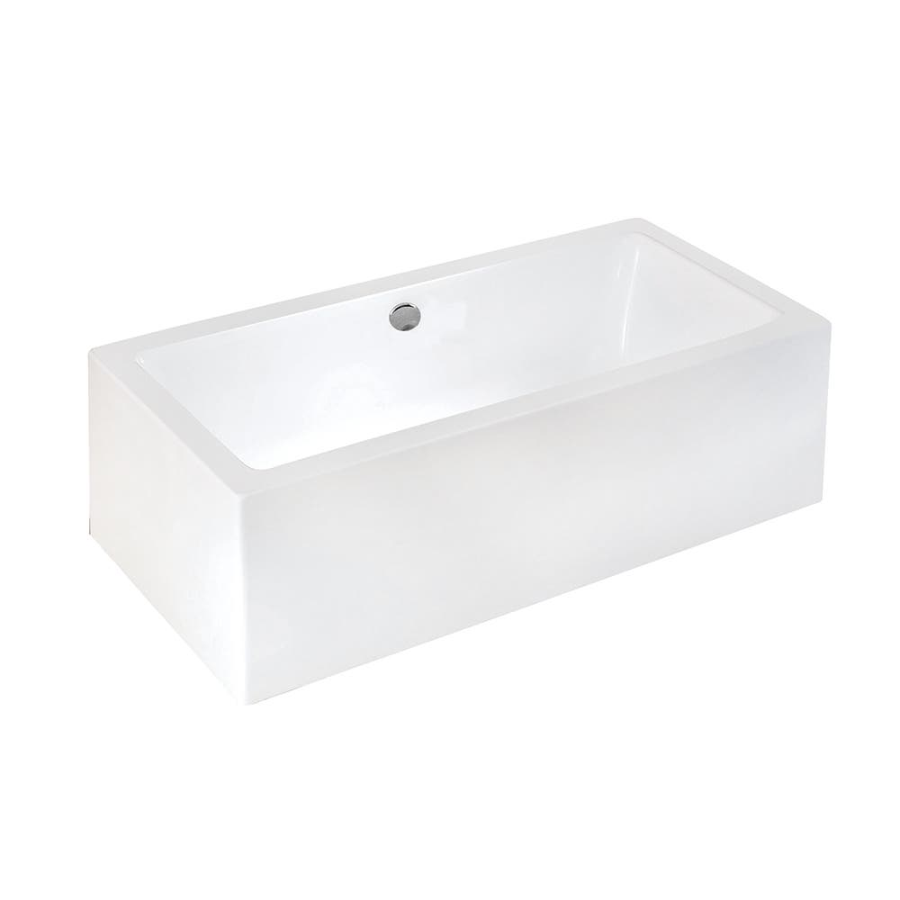 Aqua Eden VTDE673321 67-Inch Acrylic Double Ended Freestanding Tub with Drain, White