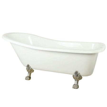 Aqua Eden VTDE692823C8 67-Inch Acrylic Single Slipper Clawfoot Tub with 7-Inch Faucet Drillings, White/Brushed Nickel