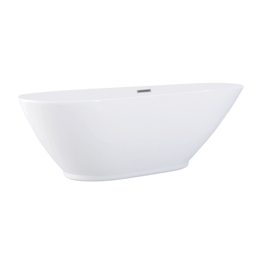 Aqua Eden VTDE693223 69-Inch Acrylic Double Ended Freestanding Tub with Drain, White