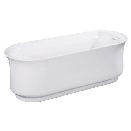 Aqua Eden VTDR662723 66-Inch Acrylic Double Ended Freestanding Tub with Drain, White
