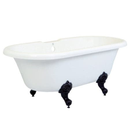 Aqua Eden VTDS672924H5 67-Inch Acrylic Double Ended Clawfoot Tub (No Faucet Drillings), White/Oil Rubbed Bronze