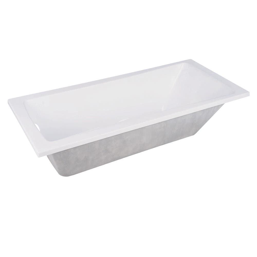 Aqua Eden VTPN593017 59-Inch Acrylic Rectangular Drop-In Tub with Reversible Drain Hole, White