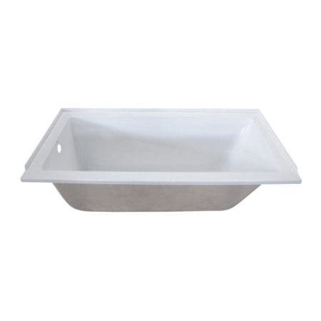 Aqua Eden VTPN603020L 60-Inch Acrylic Rectangular Drop-In Tub with Left Hand Drain, White