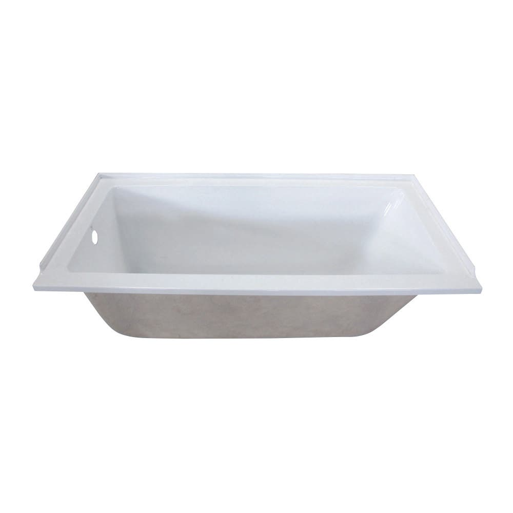 Aqua Eden VTPN603020L 60-Inch Acrylic Rectangular Drop-In Tub with Left Hand Drain Hole, White