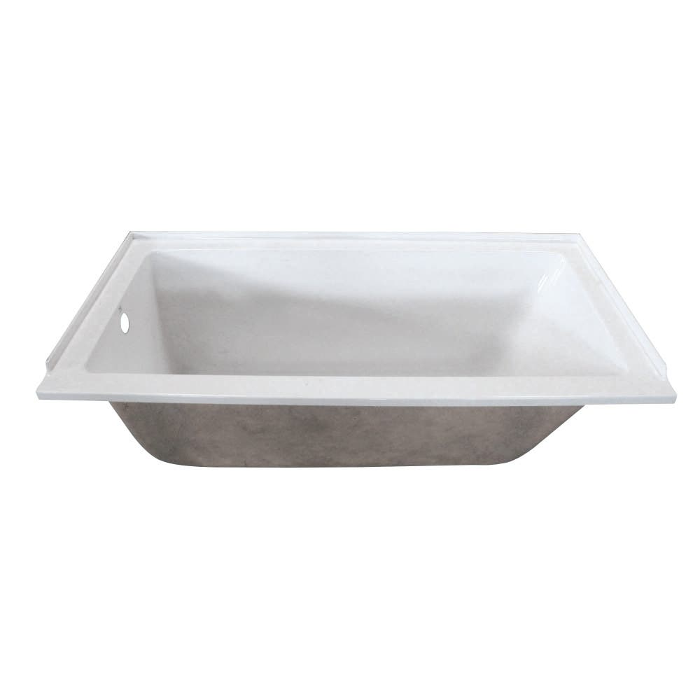 Aqua Eden VTPN603220L 60-Inch Acrylic Rectangular Drop-In Tub with Left Hand Drain Hole, White