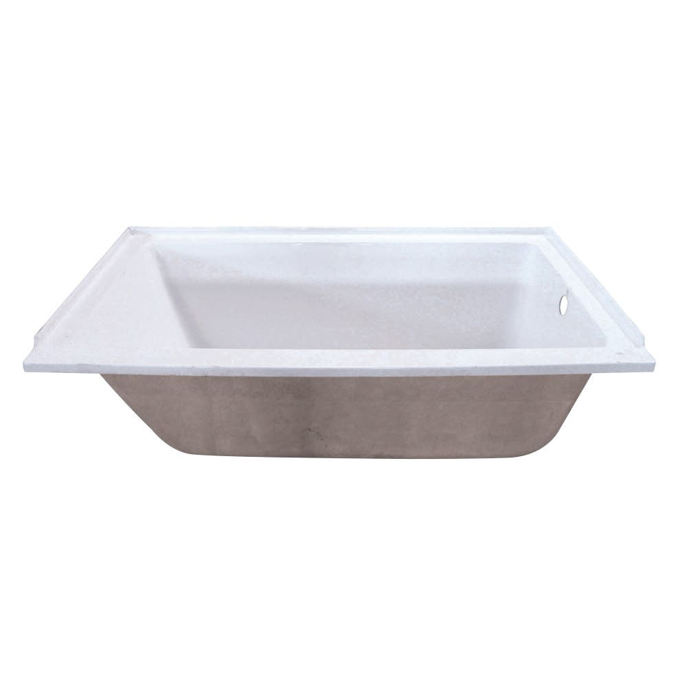 Aqua Eden VTPN603220R 60-Inch Acrylic Rectangular Drop-In Tub with Right Hand Drain Hole, White