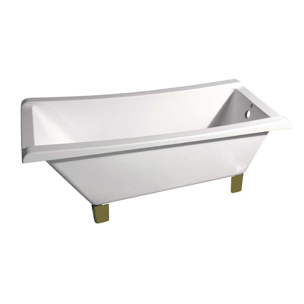 Aqua Eden VTRF673018A2 67-Inch Acrylic Single Slipper Clawfoot Tub (No Faucet Drillings), White/Polished Brass