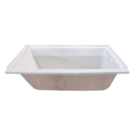 Aqua Eden XVTPN603020R 60-Inch Acrylic Rectangular Drop-In Tub with Right Hand Drain, White