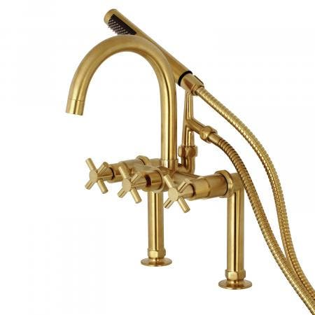 Kingston Brass AE8107DX Deck Mount Tub Filler with Hand Shower, Satin Brass
