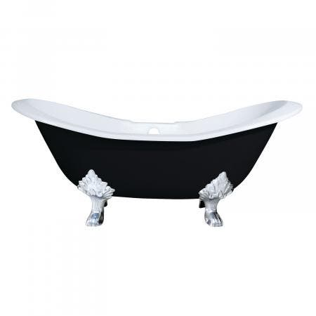 Aqua Eden 72-Inch Double Slipper Clawfoot Tub with Faucet Drillings and Feet, Black/White/Polished Chrome