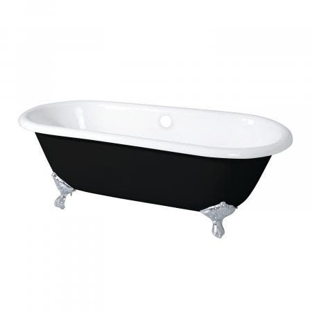 Aqua Eden 66-Inch Double Ended Clawfoot Tub with Feet No Faucet Drillings, Black/White/Polished Chrome