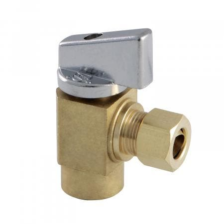 "Kingston Brass KF33104CTL Columbia 3/8""IPS x 3/8""O.D Compression 1/4 Turn Angle Stop Valve, Raw Brass"