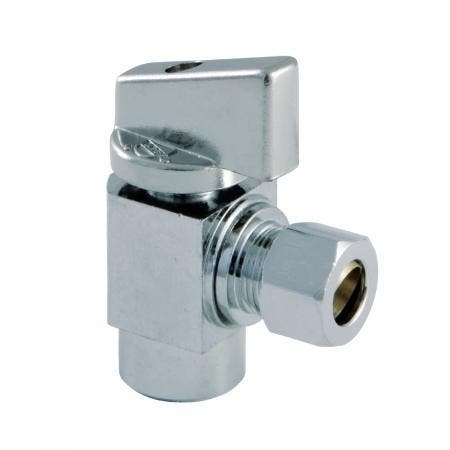 "Kingston Brass KF43201CTL Columbia 1/2""SWT x 3/8""O.D Compression 1/4 Turn Angle Stop Valve, Polished Chrome"