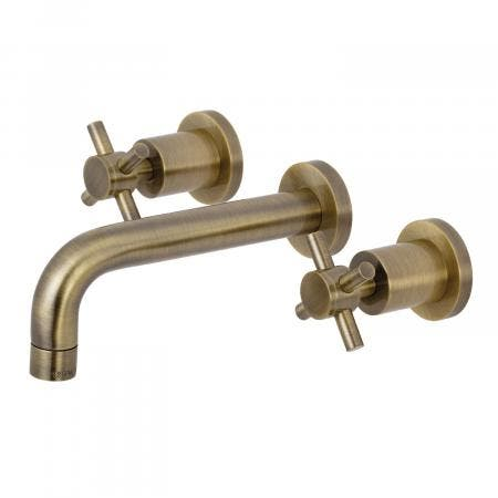 Kingston Brass KS8123DX Concord 2-Handle Wall Mount Bathroom Faucet, Vintage Brass