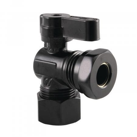 Kingston Brass KF5430MB 5/8-Inch OD Comp X 1/2-Inch & 7/16-Inch OD Slip Joint Angle Stop Valve, Matte Black