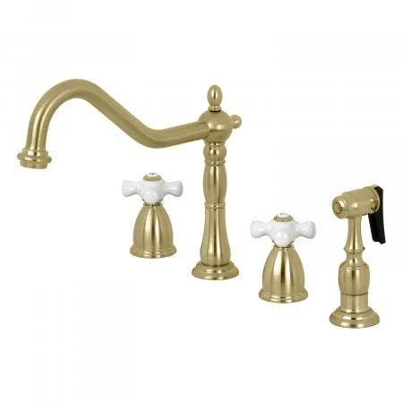 Kingston Brass KB1797PXBS 8-Inch Widespread Kitchen Faucet with Brass Sprayer, Brushed Nickel
