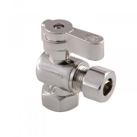 Kingston Brass KF3310SN 3/8 Fip X 3/8 OD Comp Angle Stop Valve with Lever Handle, Brushed Nickel