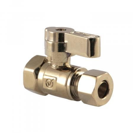 Kingston Brass KF3315PB 3/8 Fip X 3/8 OD Comp Straight Stop Valve with Lever Handle, Polished Brass