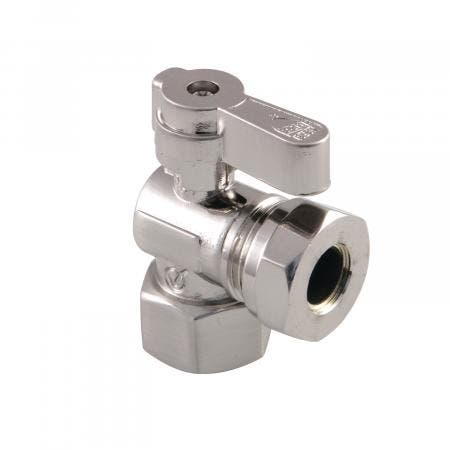 Kingston Brass KF4410SN 1/2 Fip X 1/2 and 7/16 OD Slip Joint Angle Stop Valve, Brushed Nickel