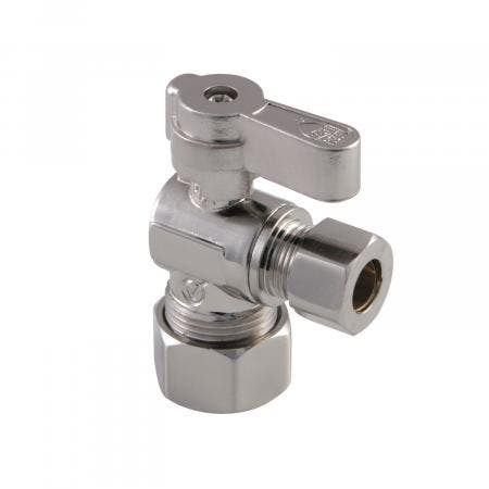 Kingston Brass KF5330SN 5/8-Inch OD Comp X 3/8-Inch OD Comp Angle Stop Valve, Brushed Nickel