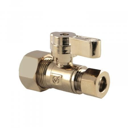 Kingston Brass KF5335PB 5/8-Inch OD X 3/8-Inch OD Comp Straight Stop Valve, Polished Brass