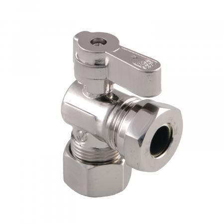 Kingston Brass KF5430SN 5/8-Inch OD Comp X 1/2-Inch & 7/16-Inch OD Slip Joint Angle Stop Valve, Brushed Nickel