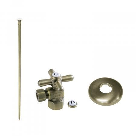 Kingston Brass KTK103P Trimscape Toilet Supply Kit Combo 1/2-Inch IPS X 3/8-Inch Comp Outlet, Vintage Brass