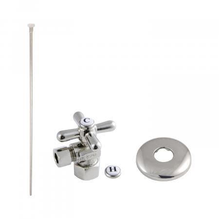 Kingston Brass KTK106P Trimscape Toilet Supply Kit Combo 1/2-Inch IPS X 3/8-Inch Comp Outlet, Polished Nickel