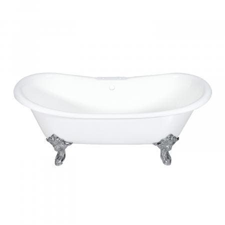 Aqua Eden 72-Inch Cast Iron Double Slipper Clawfoot Tub with 7-Inch Faucet Drillings and Feet, White/Polished Chrome