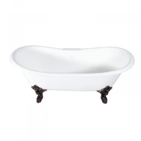 Aqua Eden 72-Inch Cast Iron Double Slipper Clawfoot Tub with 7-Inch Faucet Drillings and Feet, White/Oil Rubbed Bronze