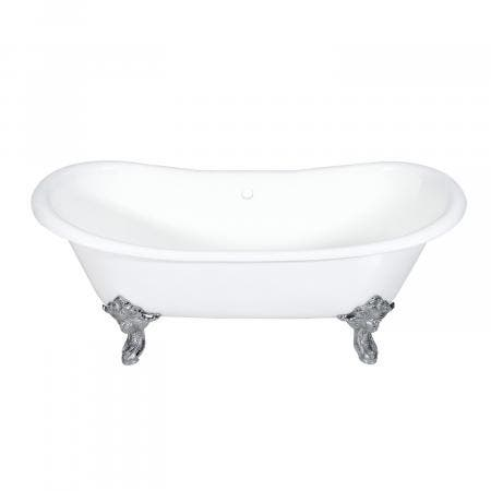 Aqua Eden 72-Inch Cast Iron Double Ended Clawfoot Tub with Feet No Drillings, White/Polished Chrome