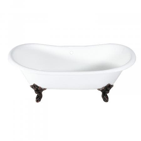 Aqua Eden 72-Inch Cast Iron Double Ended Clawfoot Tub with Feet No Drillings, White/Oil Rubbed Bronze