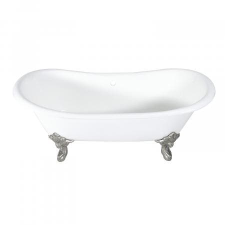 Aqua Eden 72-Inch Cast Iron Double Ended Clawfoot Tub with Feet No Drillings, White/Brushed Nickel
