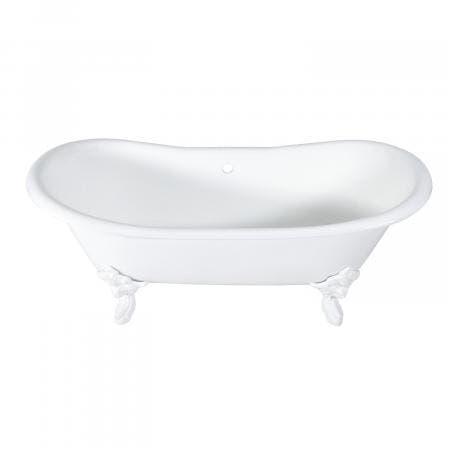 Aqua Eden 72-Inch Cast Iron Double Ended Clawfoot Tub with Feet No Drillings, White/White