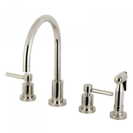 Kingston Brass KS8726DLBS Concord 8-Inch Widespread Kitchen Faucet with Brass Sprayer, Polished Nickel