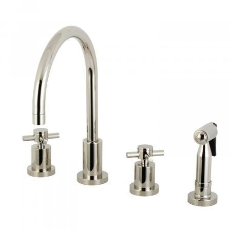 Kingston Brass KS8726DXBS Concord 8-Inch Widespread Kitchen Faucet with Brass Sprayer, Polished Nickel