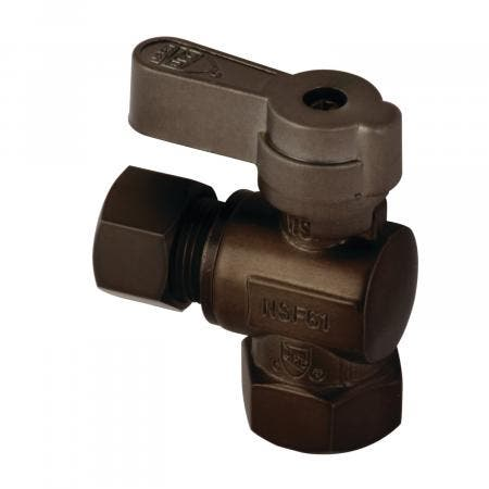 Kingston Brass KF3310ORB 3/8 Fip X 3/8 OD Comp Angle Stop Valve with Lever Handle, Oil Rubbed Bronze