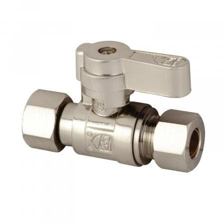 Kingston Brass KF3330SN 3/8 OD X 3/8 OD Comp Straight Stop Valve, Brushed Nickel
